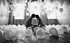 Cool effect with white balloons in black and white.