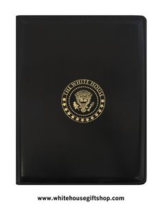 """The White House Presidential Folio, Black, Gold Embossed, Inside Flap, Pen Slot, Card Holder, Stitched, Uses 8.5"""" x 11"""" Standard Paper Pads, One Included. Enter Promo Code """"PIN"""" for 10% off your entire order!"""