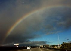 A rainbow spotted early this morning, driving west on Interstate 10 through Cabazon, CA.