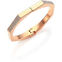 Vita Fede Mini Octagon Crystal Bangle Bracelet ($450) ❤ liked on Polyvore featuring jewelry, bracelets, apparel & accessories, rose gold, bracelets bangle, hinged bracelet, swarovski crystal jewellery, pave jewelry and bangle bracelet