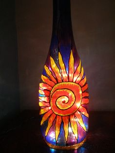 Stained Glass Painted Recycled Bottle Lamp  by FeelGoodReusables