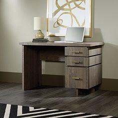 Sauder International Lux Single Pedestal Desk in Fossil Oak