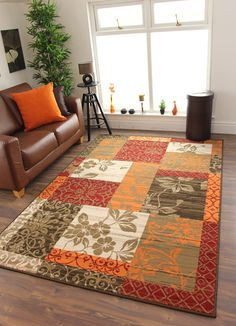 Cheap Warm Red Burnt Orange Brown Cream Cosy Patchwork Milan Family Area Rug UK