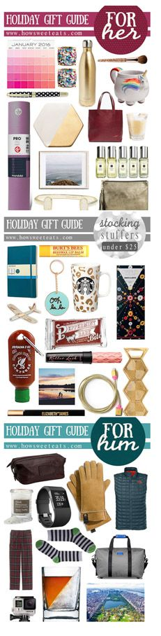 Gift Guides for Him, Her and stocking stuffers under $25! for all you last minute shoppers. I howsweeteats.com