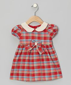Love this Red Plaid Bow Dress - Infant on #zulily! #zulilyfinds