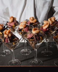 Meat lover's appetizer with grilled shrimp and grilled steak by Wedding Appetizers, Lgbt Wedding, Wedding Honeymoons, Grilled Shrimp, Meat Lovers, Laguna Beach, Wedding Decorations, Reception, Cooking