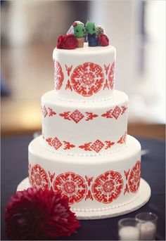 A fun and patterned Spanish style wedding cake #wedding #spanish