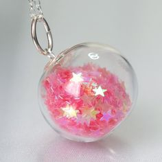 Candy pink star glitter hand blown glass ball silver by thestudio8, $32.00