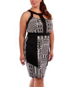 Love this Black & White Geometric Cutout Halter Dress - Plus on #zulily! #zulilyfinds