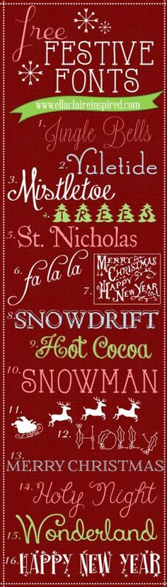 Fabulous Free Festive Christmas Fonts I am trying to get most of my holiday projects out of the way before this little one makes his debut. I love pap… - New Deko Sites Christmas Fonts, Noel Christmas, Christmas Printables, Christmas Crafts, Christmas Typography, Christmas Chalkboard, Winter Christmas, Fancy Fonts, Cool Fonts