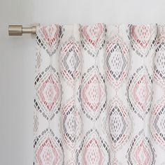 Cotton Canvas Mosaic Medallion Curtain - Rose Bisque | west elm