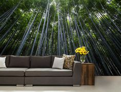 FOREST WALL MURAL trees wall mural nauture mueal by 4KdesignWall