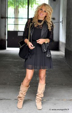 Moto jacket, girly dress, and slouchy boots