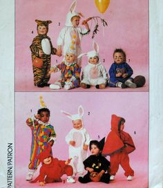 Vintage 1980s Boys Girls Costume Bunny Rabbit Tiger Clown Sports Athlete Devil Witch Little Red Riding Hood Size 1 2 3 4 Sewing Pattern