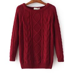 SheIn(sheinside) Cable Knit Loose Wine Red Sweater ($22) ❤ liked on Polyvore featuring tops, sweaters, burgundy, burgundy sweater, sweater pullover, cable-knit sweater, red top and long sleeve sweater