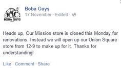 Great Facebook Post from Boba Guys in San Francisco, CA https://www.facebook.com/bobaguys/photos/a.150807471679133.34058.136972233062657/732546180171923/?type=1