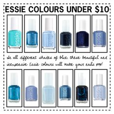 """""""Under $10 Blue Essie Collection"""" by rockgirlfriend15 ❤ liked on Polyvore featuring beauty, Essie, Salt Water Sandals, nails, Beauty, Blue, nailpolish and Cataloguepieces"""