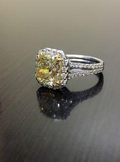 Art Deco Platinum Yellow Diamond Engagement Ring Platinum