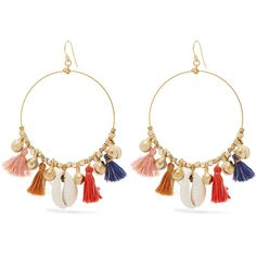 Chan Luu Gold-tone, shell and tassel earrings (1.325 ARS) ❤ liked on Polyvore featuring jewelry, earrings, accessories, tassel earrings, tassle earrings, sea shell earrings, hoop earring charms and hoop earrings