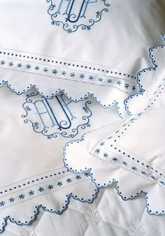 White Linen with Blue Embroidery & Monogram. I want our initials like this, one day. Embroidered Bedding, Embroidery Monogram, Passementerie, Linens And Lace, Fine Linens, Heirloom Sewing, Linen Bedding, Bed Linens, Bedding Sets