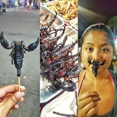 Shout-Out to all My Fellow Scorpios!#Scorpion #Crunchy #Insects #Bugs #BizarreEats #Food #BugBites #Foodie #Instafood #KhaoSanRoad #StreetFood #Bangkok #Thailand #ThailandTrip2016 #DesiredTastes