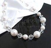 Náhrdelníky - Perlovo-krištáľový náhrdelník - 3165602