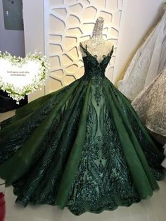 Sequin sparkly off the shoulder ball gown wedding/prom dress - various colors Beautiful wedding gown/dress made to fit your measurements! Shine beyond compare with this sparkle ball gown wedding/prom: - Choose from a range of elegant color Ball Gowns Evening, Ball Gowns Prom, Ball Gown Dresses, Royal Ball Gowns, Princess Ball Gowns, Green Evening Dress, Princess Dresses, Green Gown Dress, Masquerade Ball Dresses