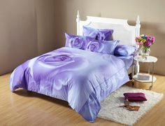 Midnight Rose Purple Floral Bedding Romantic Duvet Set King OR Full / Queen DM490 by Dolce Mela