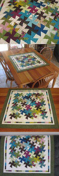 Table D cor 168075: Handmade Quilted Table Topper Soho Twister Pinwheels -> BUY IT NOW ONLY: $55 on eBay!