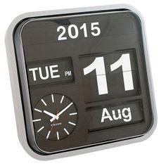 Inreda.com - Big Flip Calendar Clock 43x43 cm Silver, Karlsson