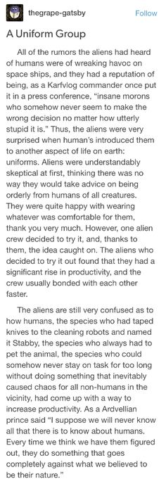 Humans Are Weird: Uniforms (pt Writing Advice, Writing A Book, Writing Prompts, Weird Stories, Funny Stories, Short Stories, Tumblr Aliens, Space Australia, Space Story