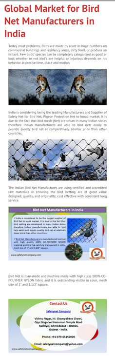 "The Indian Bird Net Manufactures are using certified and accredited raw materials in ensuring the bird netting are of great value designed, quality with 100% CO-POLYMER NYLON fabric, and originality size of mesh size of 1"" and 1.1/2"" square, cost effective with consistent long service. Kindly visit at http://www.safetynetcompany.com/pigeon-protection-net.html"