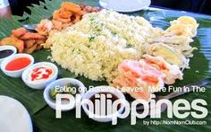 Eating a sumptuous Filipino dish could be more enjoyed while it is laid on a banana leaf. It's a practice of Filipinos which is usually seen during fiestas in barrios :D