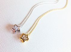 CZ Star Necklace, Star Necklace, Gold Star Necklace, Silver Star Necklace, Star Jewelry, Cubic Zirconia Jewelry