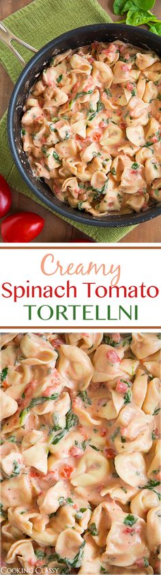 Creamy Spinach Tomato Tortellini – this tastes amazing and it's so easy to make! Creamy Spinach Tomato Tortellini – this tastes amazing and it's so easy to make!Creamy Spinach Tomato Tortellini - easy and delicious, but the pink sauce is kind o Spinach And Tomato Tortellini, Creamy Spinach, Creamy Tomato Sauce, I Love Food, Good Food, Yummy Food, Tasty, Cooking Recipes, Healthy Recipes
