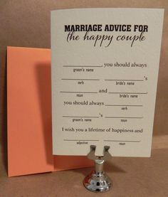 fun   Rehearsal Dinner games | Just Married Fun Fill-In Marriage Advice / Game / Fun Rehearsal Dinner ...