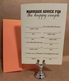 fun Rehearsal Dinner games   Just Married Fun Fill-In Marriage Advice / Game / Fun Rehearsal Dinner ...