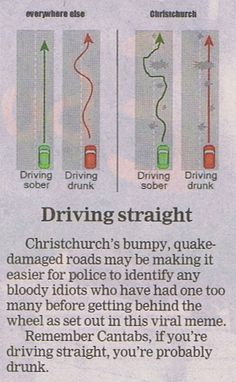 Driving in Christchurch - so true!! - Sooooo over the potholes and bumpy surfaces. Costing so much in car servicing.
