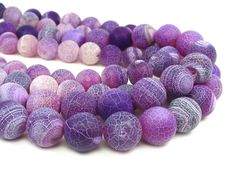 Fire Agate 12mm Round Beads purple  gemstone by LifeForceGems