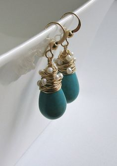 Turquoise Pearl Drop Earrings, Wire Wrapped Turquoise Drops, Pearl Dangle Earrings, December Birthstone Earrings, Bridal Earrings