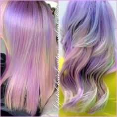 Pastel pink, green, lilac & yellow hair straight balayage / freehand / hair painting worn straight & curly / wavy