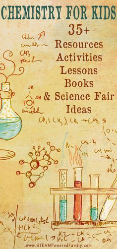 Chemistry For Kids - 35+ resources, experiments, lessons, and activities that will inspire young scientists. Lots of science fair ideas. via @steampoweredfam