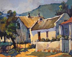Ted Hoefsloot - Cottages at Genadedal x (SOLD) South African Artists, Ceramic Artists, Beach Art, Local Artists, Abstract Backgrounds, Landscape Art, Home Art, Art Gallery, Drawings