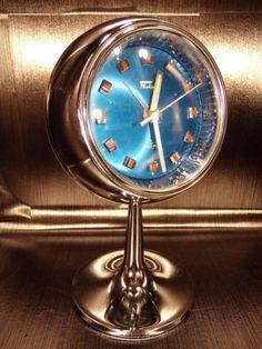 Fashion clock alarm chrome tulip reveil tulipe space age 70's vintage