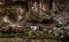 This photo is of some very cool little cliff houses that are right outside of Jøssingfjord in Norway.