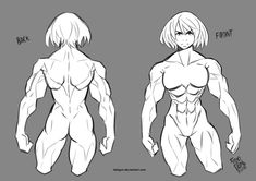 Anatomy Drawing Reference Study Female Muscle Anatomy by lokigun - Figure Drawing Tutorial, Male Figure Drawing, Body Reference Drawing, Female Drawing, Body Drawing, Anatomy Reference, Drawing Poses, Art Reference Poses, Drawing Muscles