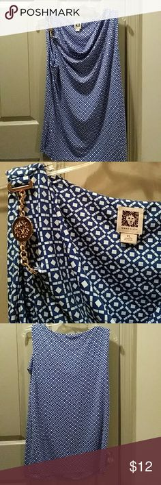 """Beautiful Anne Klein top Gorgeous Anne Klein royal blue and white drapped front top with Gold accent on right shoulder. 21"""" pit2pit. No rips tares or stains. No smoking or pets household. Anne Klein Tops Tank Tops"""