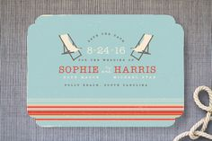 """""""Vintage Beach"""" - Vintage, Beach Save The Date Cards in Weathered Blue by Kristie Kern."""