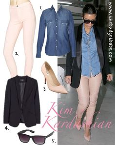 Dress by Number: Kim Kardashian's Chambray Shirt and Neutral Jeans - The Budget Babe