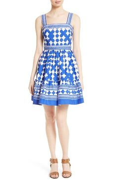 Free shipping and returns on kate spade new york lantern poplin flounce sundress at Nordstrom.com. Pre-order this style today! Add to Shopping Bag to view approximate ship date. You'll be charged only when your item ships.A slender band of ladder stitching accents the fitted bodice of a sprightly poplin sundress cast in a bold quatrefoil print. Soft gathers at the inset waist and hem create breeze-catching flounce at the short skirt.